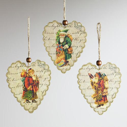 Wood Heart with Old World Santa Print Ornaments, Set of 3