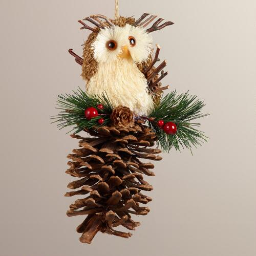 Natural Fiber Owl on Pinecone Ornament