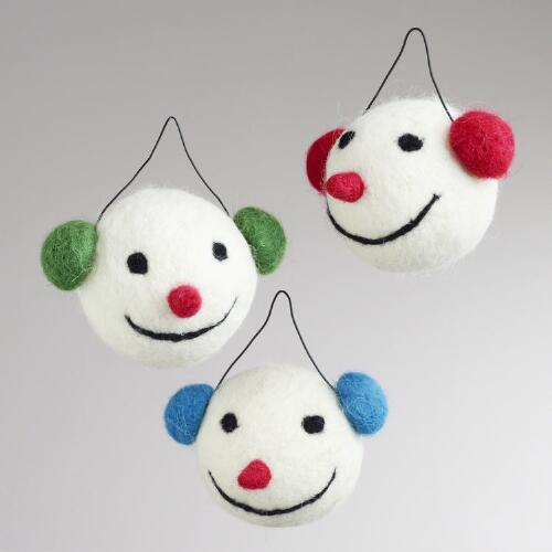 Felt Snowman Head with Earmuffs Ornaments, Set of 3