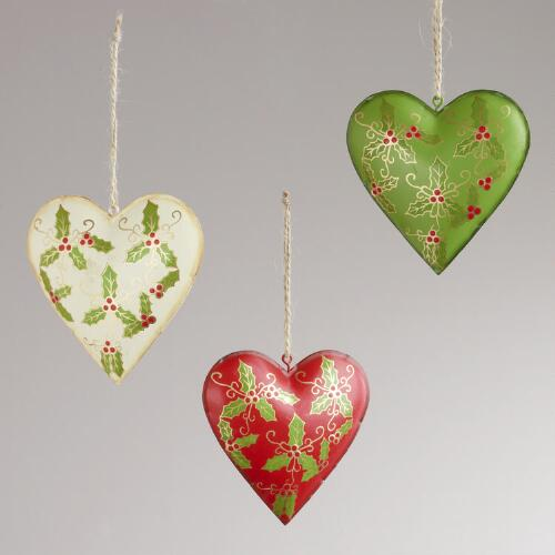 Metal Heart with Holly Print Ornaments, Set of 3