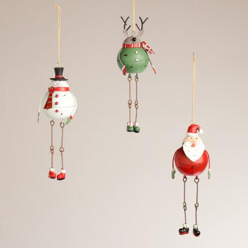 Metal Dangling Santa, Snowman and Deer Ornaments, Set of 3