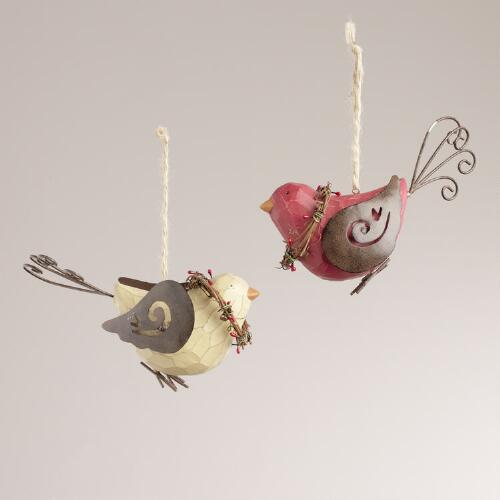 Resin Bird with Vine Wreath Ornaments, Set of 2