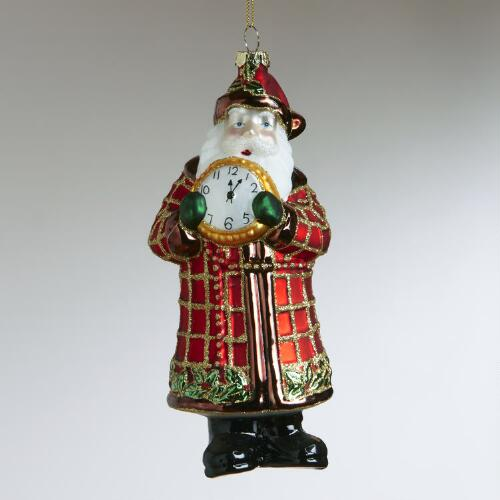 Glass Plaid Santa with Clock Ornament