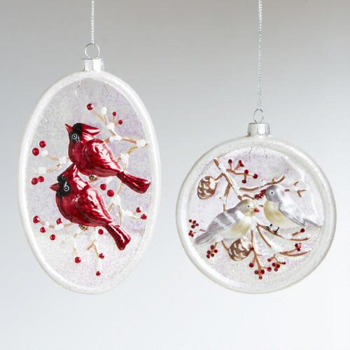 Glass Bird Disc Ornaments, Set of 2