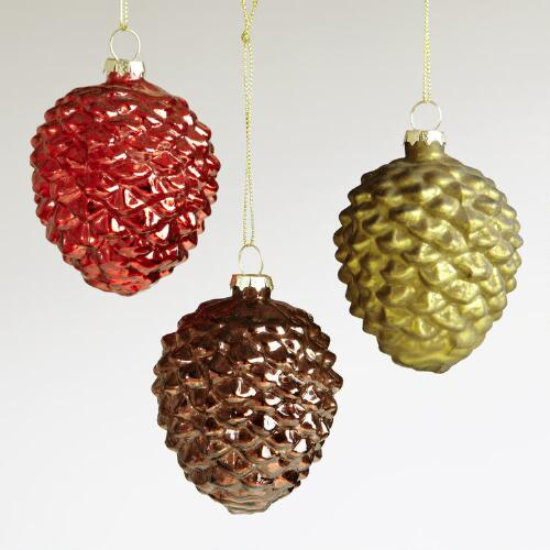 Glass Pinecone Ornaments, Set of 3