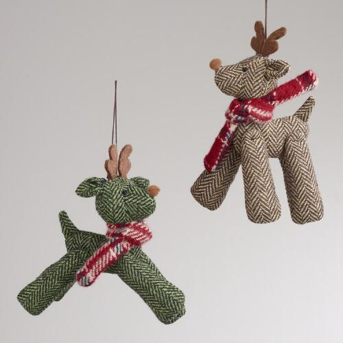 Herringbone Fabric Deer Ornaments, Set of 2