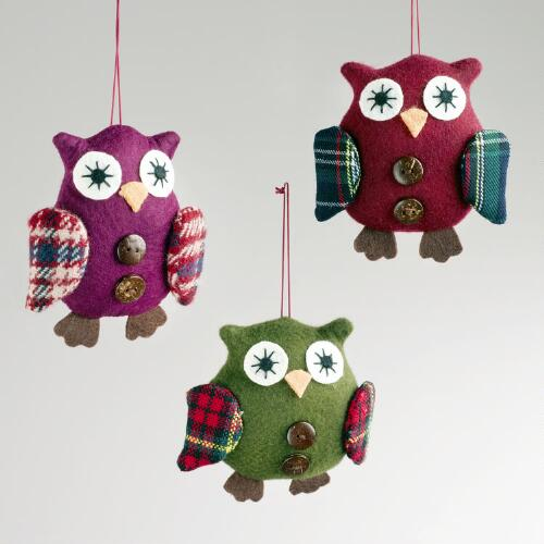 Plaid Fabric Owl Ornaments, Set of 3