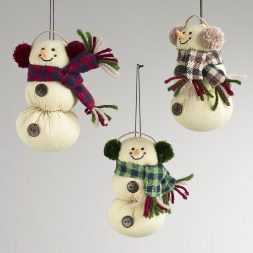 Fabric Snowman with Plaid Scarf Ornaments, Set of 3