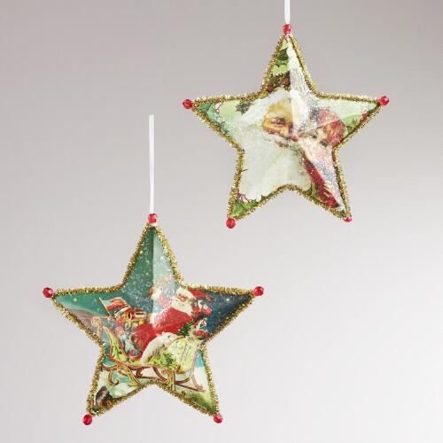 Paper Vintage-Inspired Star Ornaments, Set of 2
