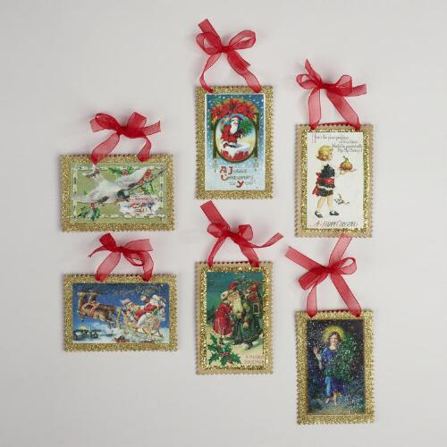 Vintage Reproduction Postcard Ornaments, Set of 6