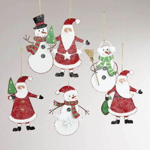 Metal Santa and Snowman Ornaments, Set of 6
