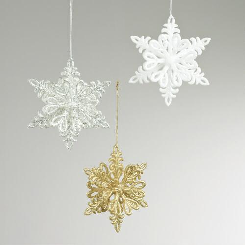 Glitter Three-Dimensional Snowflake Ornaments, Set of 3