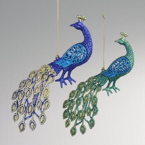 Glitter Peacock Ornaments, Set of 2