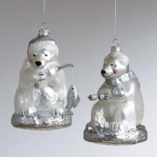 Glass Fishing Polar Bear Ornaments, Set of 2