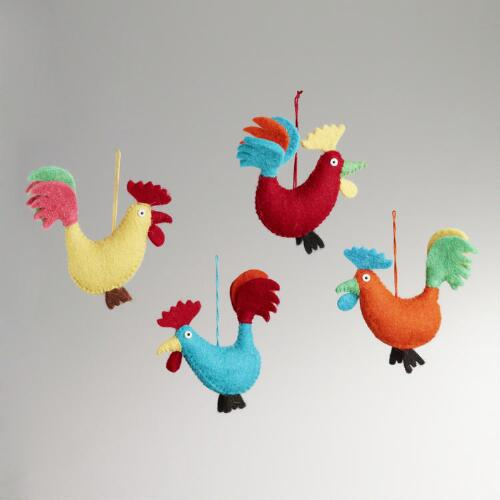 Felted Wool Rooster Ornaments, Set of 4