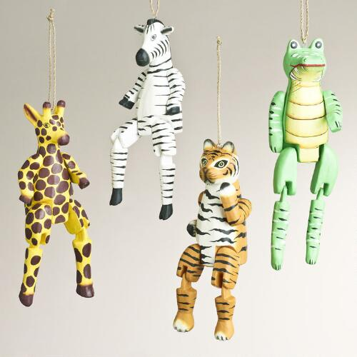 Wood Dangle Jungle Animal Ornaments, Set of 4