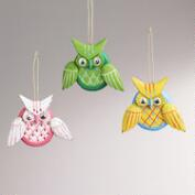 Wood Owl Ornaments, Set of 3