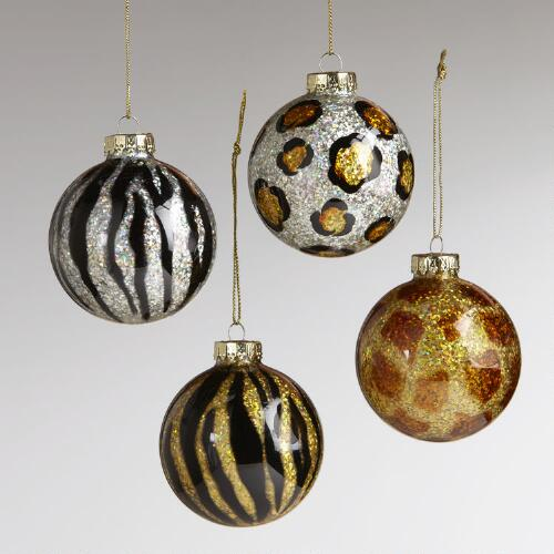 Glass Animal Print Ball Ornaments, Set of 4