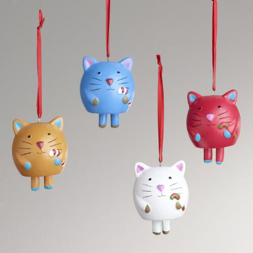 Ceramic Lucky Cat Bell Ornaments, Set of 4