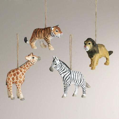 Wood Safari Animal Ornaments, Set of 4
