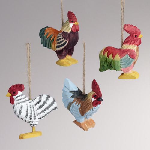 Wood Rooster Ornaments, Set of 4