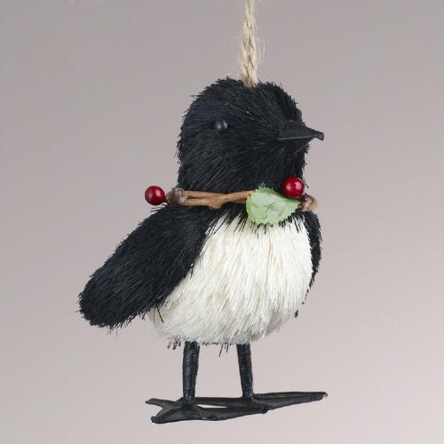 Natural Fiber Penguin with Berry Ornament