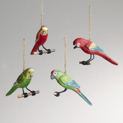 Wood Parrot on Perch Ornaments, Set of 4
