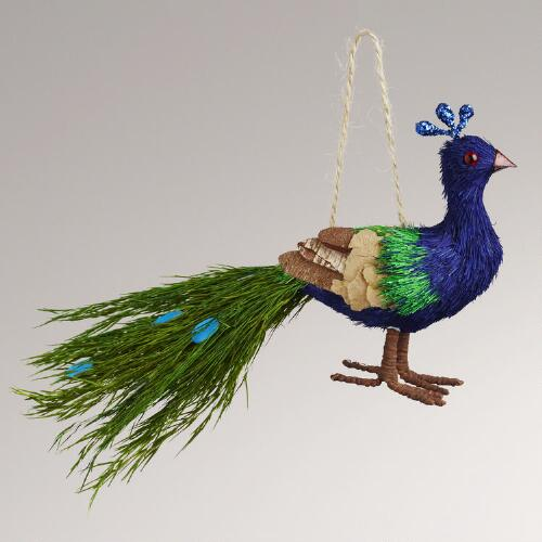 Natural Fiber Peacock Ornament