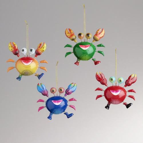 Crab Ornaments, Set of 4