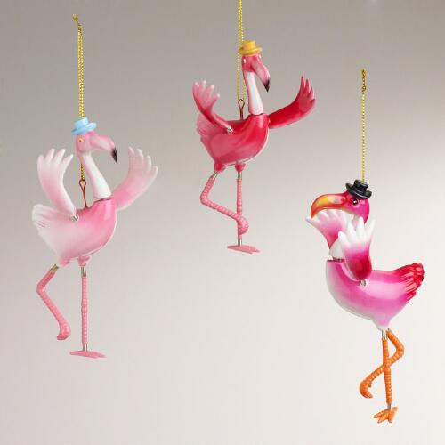 Flamingo Ornaments, Set of 3