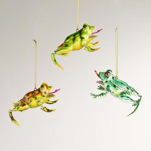 Jiggling Frog Ornaments, Set of 3