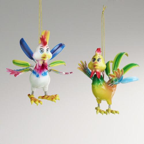 Jiggling Rooster Ornaments, Set of 2