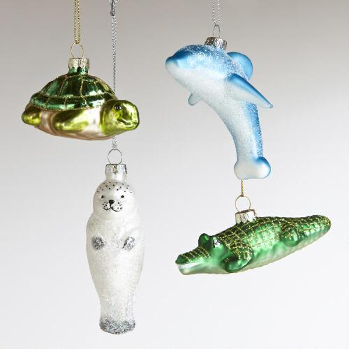 Glass Sea Animal Ornaments, Set of 4