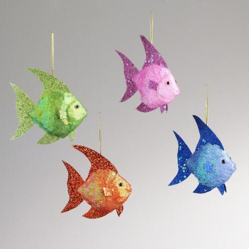 Paper Glitter Fish Ornaments, Set of 4