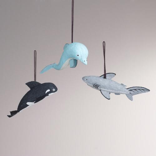 Paper Sea Life Animal Ornaments, Set of 3