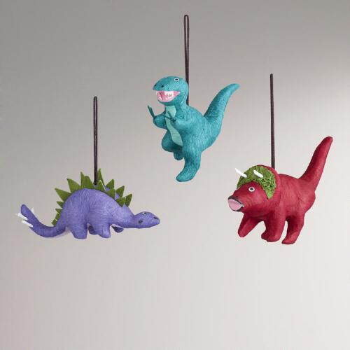 Paper Dinosaur Ornaments, Set of 3