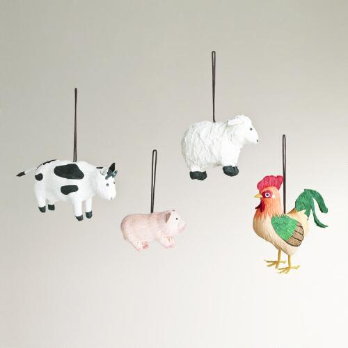 Paper Farm Animal Ornaments,  Set of 4