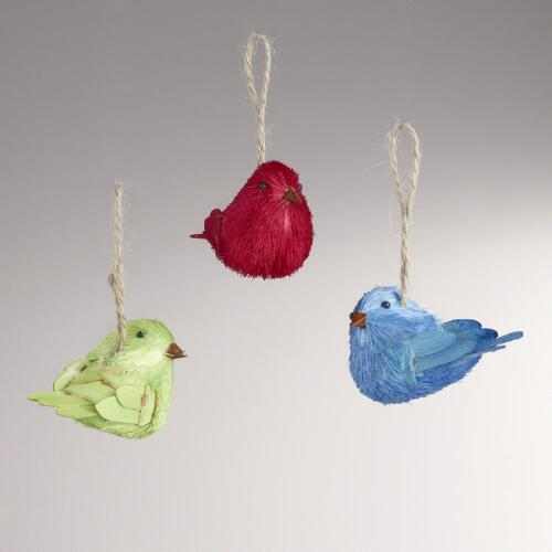 Natural Fiber Bird Ornaments, Set of 3
