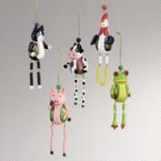 Wood Dangle Farm Animal Ornaments, Set of 5