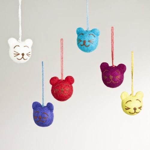 Felted Wool Cat Head Ornaments, Set of 6