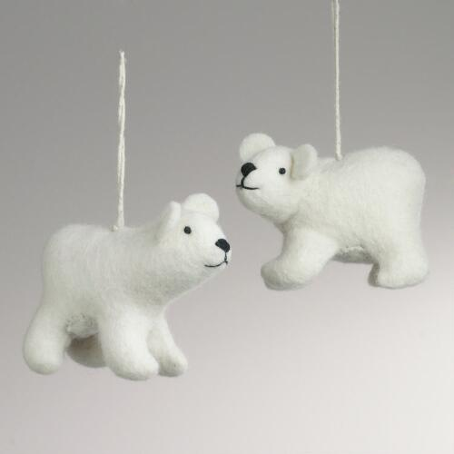 Felted Wool Polar Bear Ornaments, Set of 2