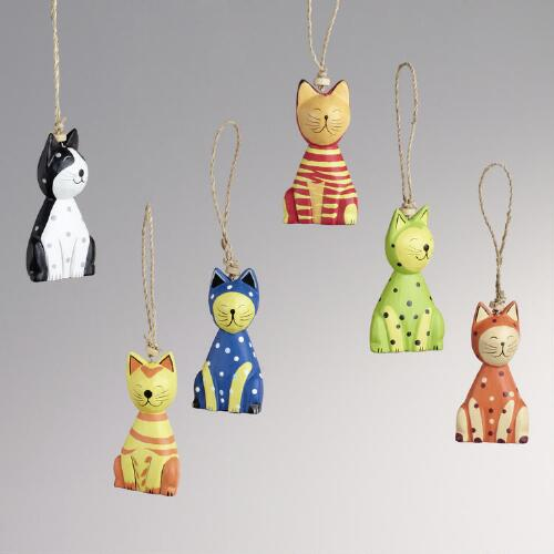 Wood Sitting Cat Ornaments, Set of 6