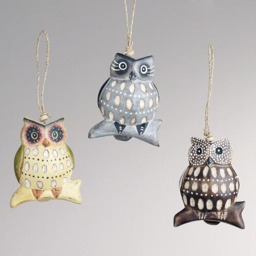 Wood Owl on Branch Ornaments, Set of 3