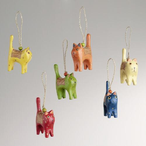 Mini Wood Cat Ornaments, Set of 6