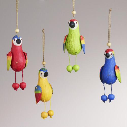 Wood Dangle Parrot Ornaments, Set of 4