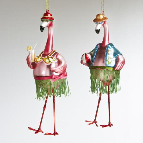Glass Hula Beach Flamingo Ornaments, Set of 2