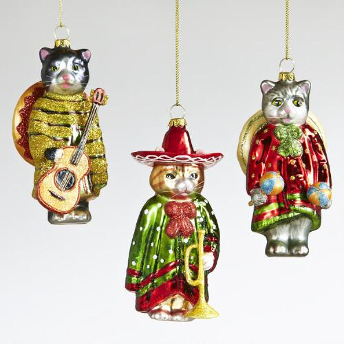 Glass Sombrero Cat Ornaments, Set of 3