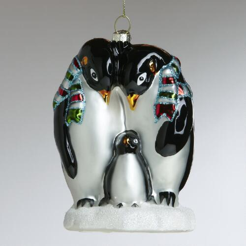 Glass Penguin Family Ornament
