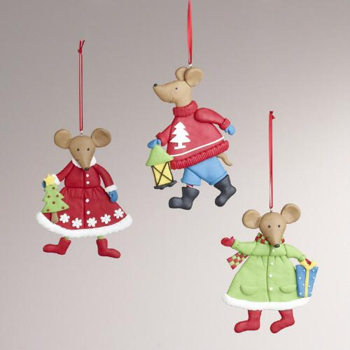 Clay Mouse Ornaments, Set of 3