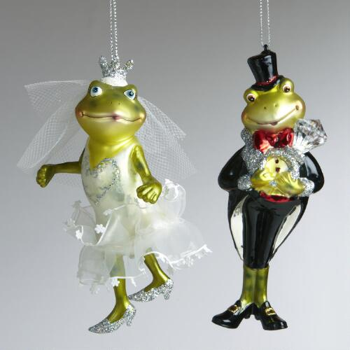 Glass Frog Bride and Groom Ornaments, Set of 2